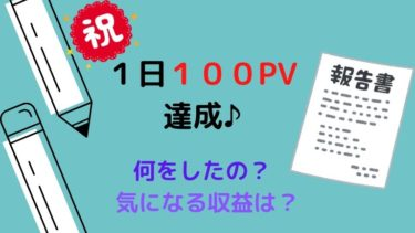 【運営報告】ブログ初心者が1日100PV達成!収益は?行ったことは?